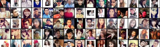A grid of selfies from Bangkok that are arranged by head tilt.